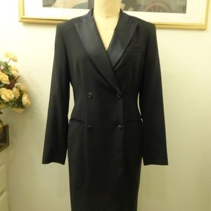 Emanuel Ungaro Black Coat Dress with Pockets